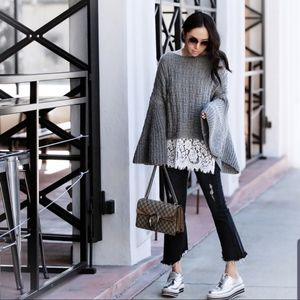 Gorgeous gray Storets bell sleeved sweater